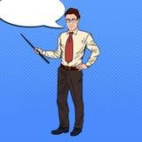 Pop Art Businessman with Pointer Stick Stock Photo
