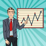 Pop Art Businessman Pointing Growth Graph. Business Planning. Vector illustration Royalty Free Stock Photo