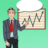 Pop Art Businessman Pointing Growth Graph 3d business dimensional presentation render shape three Fotografering för Bildbyråer