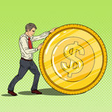 Pop Art Businessman Rolls Gold Dollar Coin. Business Success. Vector illustration Stock Photos