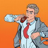 Pop Art Businessman in Rush Late to Work. Man with Coffee Hurry up to Office Royalty Free Stock Images