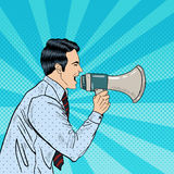 Pop Art Businessman Shouting in Megaphone. Vector illustration Stock Photos