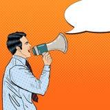 Pop Art Businessman Shouting in Megaphone Stock Images