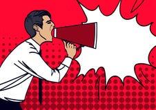 Pop Art Businessman Shouting in Megaphone. Vector illustration eps 10. Royalty Free Stock Photography