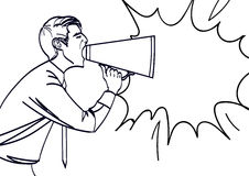 Pop Art Businessman Shouting in Megaphone. Vector illustration eps 10. Royalty Free Stock Photo