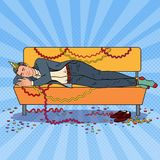 Pop Art Businessman Sleeping on the Sofa after Corporate. Office Party. New Year Celebration, Birthday. Vector illustration Stock Image