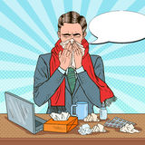 Pop Art Businessman Sneezing på kontorsarbete Royaltyfri Fotografi