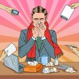Pop Art Businessman Sneezing på kontorsarbete Arkivbild