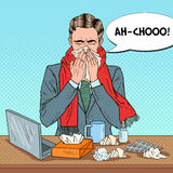 Pop Art Businessman Sneezing på kontorsarbete Royaltyfria Bilder