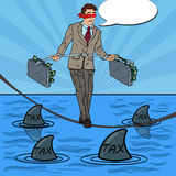 Pop Art Businessman Walking on the Rope with Briefcase Over the Sea with Sharks. Vector illustration Stock Images