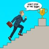 Pop Art Businessman Walking Up Stairs aan Gouden Kop vector illustratie