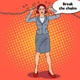 Pop Art Businesswoman Breaking Metal Chain. Strong Woman. Business Motivation. Vector illustration Stock Photos