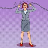 Pop Art Businesswoman Breaking Metal Chain. Strong Woman. Pressure on Work. Vector illustration Stock Photography