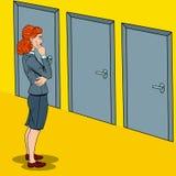 Pop Art Businesswoman Choosing the Right Door. Pop Art Doubtful Businesswoman Choosing the Right Door. Vector illustration Stock Photos