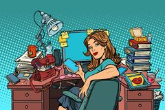 Pop Art Businesswoman In The Workplace Stock Image