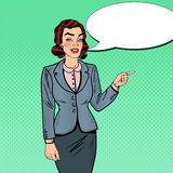 Pop Art Businesswoman Pointing on Copy Space. Business Presentation Stock Image