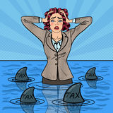 Pop Art Businesswoman Swimming with Sharks Royalty Free Stock Image
