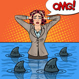 Pop Art Businesswoman Swimming with Sharks Royalty Free Stock Photo