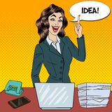 Pop Art Busy Business Woman Had an Idea Royalty Free Stock Image