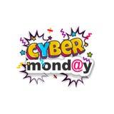 Pop art cômico do texto da propaganda de segunda-feira do Cyber Foto de Stock