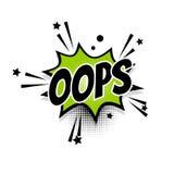 Pop art cômico da bolha do discurso do texto oops Fotografia de Stock Royalty Free