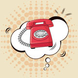 Pop art calling telephone vintage design royalty free illustration