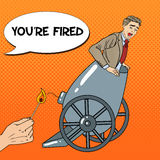 Pop Art Cannon Business Man Gets Fired Stock Photo