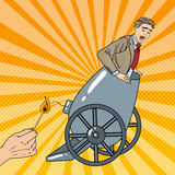 Pop Art Cannon Business Man Gets Fired. Vector illustration Stock Photo