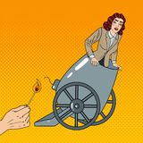 Pop Art Cannon Business Woman Gets Fired. Vector illustration Stock Images