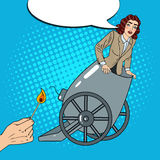 Pop Art Cannon Business Woman Gets Fired. Vector illustration Royalty Free Stock Photos