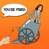 Pop Art Cannon Business Woman Gets Fired Stock Photos