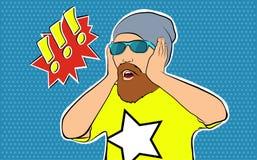 Pop art, cara surpreendida do homem com boca aberta Um homem com uma barba nos vidros Imagens de Stock