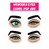 Pop art cartoon comic sexy sly woman eyes Royalty Free Stock Photos