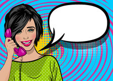 Pop art cartoon woman hold hand retro phone talk. Beautiful lips pin up. Positive surprise pop art brunette smile woman talk hand holding retro phone. Comic book stock illustration
