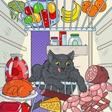 Pop Art Cat Steals Food from Refrigerator. Hungry Pet in Fridge Royalty Free Stock Image