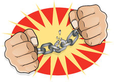 Pop Art Chained Fists breaking Free. Royalty Free Stock Image