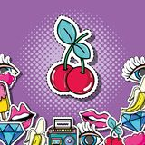 Pop art cherry with patches background design. Vector illustration vector illustration