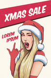 Pop art christmas sexy woman in Santa Claus hat with open mouth. Christmas background in pop art retro comic style. Pop art christmas sexy woman in Santa Claus Stock Image