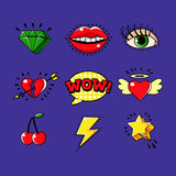 Pop Art Classic Bright Design Elements For Clothing Print And Stickers Set Of Cartoon Icons Stock Photography