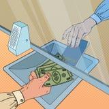 Pop Art Clerk Giving Cash Money aan Klant Het Concept van de muntuitwisseling Bankterugtrekking, Financiële transactie vector illustratie