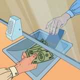 Pop Art Clerk Giving Cash Money to Customer. Currency Exchange Concept. Bank Withdrawal, Financial Operation. Vector illustration Royalty Free Stock Images