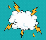 Pop art cloud with lightning design blue background royalty free stock photo