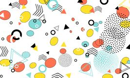 Pop art color background. Memphis pattern of geometric shapes for tissue and postcards. Vector Illustration. Hipster style 80s-90s vector illustration