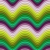 Pop Art Color Waves Green Yellow Seamless Stock Image