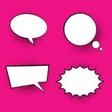 Pop art colored speech bubbles. Retro halftone dialog chat boxes text  frame  bubbles vector Royalty Free Stock Photo