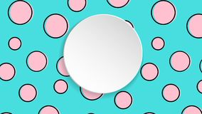 Pop art colorful confetti background. Big colored spots and circ. Les on white background with black dots and ink lines. Banner with 3d paper plate in pop art Stock Images