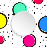 Pop art colorful confetti background. Big colored spots and circ. Les on white background with black dots and ink lines. Banner with 3d paper plate in pop art Stock Photo