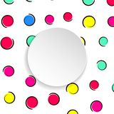 Pop art colorful confetti background. Big colored spots and circ. Les on white background with black dots and ink lines. Banner with 3d paper plate in pop art stock illustration