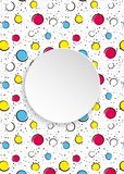 Pop art colorful confetti background. Big colored spots and circ. Les on white background with black dots and ink lines. Banner with 3d paper plate in pop art royalty free illustration