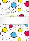 Pop art colorful confetti background. Big colored spots and circ. Les on white background with black dots and ink lines. Banner with 3d paper plate in pop art Royalty Free Stock Images